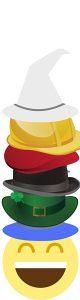 6 Hüte übereinander