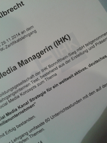Zertifikat Social Media Managerin