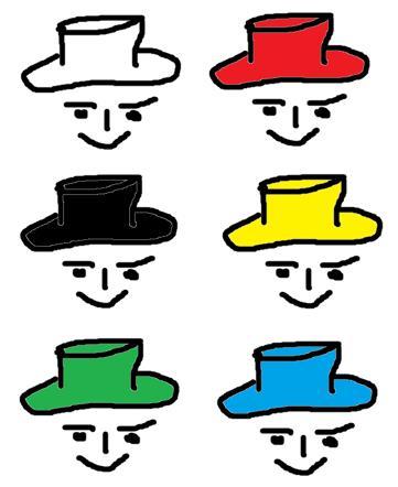 Hüte in 6 Farben stehen für 6 Perspektiven