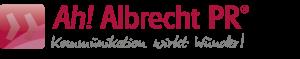 Das Logo von albrecht-pr ist nun dunkelrot